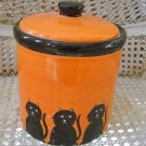 HALLOWEEN ORANGE TREATS CANISTER WITH BLACK CAT ***SO CUTE***