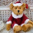 """RUSS BERRIE 8"""" TALL KRIS SANTA BEAR CHRISTMAS DECORATING **SO CUTE**"""