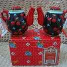 MARY ENGELBREIT BLACK CHERRIES JUBILEE TEAPOT CANDLEHOLDERS **NEW STORE STOCK***