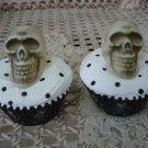 ADORABLE FAKE FAUX HALLOWEEN CUPCAKE WITH SKULLS & SPIDERS *GREAT DISPLAY ITEM*