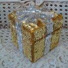 GORGEOUS GOLD & SILVER PRESENT SPARKLING  CHRISTMAS SEQUIN TRINKET BOX **PRETTY*