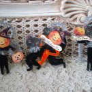 SET OF 3 OLD FASHIONED CHENILLE HALLOWEEN CAT & PUMPKIN ORNAMENTS **ADORABLE**
