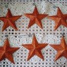 6 ORANGE GLITTER LARGE METAL HALLOWEEN STAR ORNAMENTS **SO PRETTY***