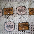 SET OF 6 GHOSTLY GREETINGS & GHOST CROSSING METAL HALLOWEEN ORNAMENTS *SO CUTE*