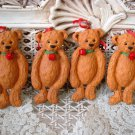 HOLLY BEARIES 4 ANTIQUE STYLE CHRISTMAS BEARS CHRISTMAS ORNAMENTS **NEW**