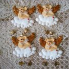 HOLLY BEARIES 4 RETIRED CHRISTMAS BEAR ANGELS PRETTY CHRISTMAS ORNAMENTS *NEW*