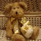 "ELEGANT RETIRED HALLMARK 12"" BEAR CHRISTMAS WITH GOLD HOLLY & MUFF **SO CUTE**"