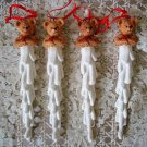 HOLLY BEARIES 4 RETIRED CHRISTMAS BEARS ON ICICLES CHRISTMAS ORNAMENTS *NEW*