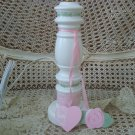 PRETTY ROSES AND HEART WOODEN LAMP **WONDERFUL FOR BABY OR LITTLE GIRL'S ROOM*