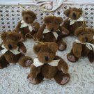 SET OF 6 ADORABLE JOINTED TEDDY BEAR CHRISTMAS ORNAMENTS ***SO CUTE***