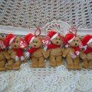 6 RETIRED TY JINGLE BEANIES SANTA BEAR CHRISTMAS ORNAMENTS **SO CUTE**