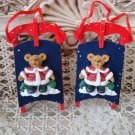 HOLLY BEARIES 2 CHRISTMAS BEARS ON WOODEN SLEDS CHRISTMAS ORNAMENTS **NEW**