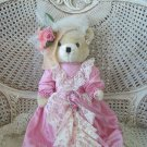 GORGEOUS VINTAGE VICTORIAN STYLE TEDDYBEAR WITH ELEGANT OUTFIT DECORATED WITH ROSES CUTE