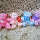 "RUSS BERRIE SET OF FOUR 7"" SPARKLING PLUSH BUBBLES TEDDY BEARS *SO PRETTY* NEW"