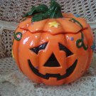 FABULOUS LARGE PUMPKIN HALLOWEEN CERAMIC COOKIE JAR