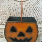 SHABBY VINTAGE INSPIRED CRACKLE METAL PUMPKIN HALLOWEEN MEDIUM LUMINARY ***ADD LIGHTS***
