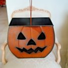 AWESOME HUGE SHABBY VINTAGE INSPIRED CRACKLE METAL PUMPKIN HALLOWEEN LUMINARY *ADD LIGHTS