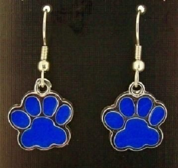 Wildcat Blue Paw print Earrings