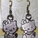 full body Sterling Silver Ear Wire w/Tibetan Silver Hello Kitty Charm Dangle Drop Earrings