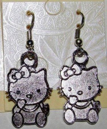 full body Sterling Silver Ear Wire w/Tibetan Silver Hello Kitty Charm Dangle Drop Earrings