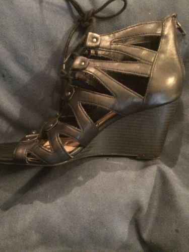 American Rag Women's Carter Wedge Lace Up Gladiator Sandals, Black, Size 8