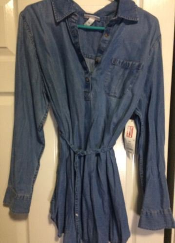 Liz Lange Maternity Long Sleeve Blue Denim top half button blouse XL New