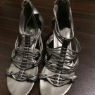 New Audrey Brooke Sophia Pewter Gladiator Wedge Sandals 8.5M