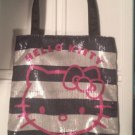 Hand Bag - Hello Kitty - Black and Silver Striped New Purse Bag 674967
