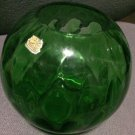 Bohemian Antique Glass Round Bowl Vase Emerald Green