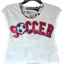 Justice Girls White Soccer Sport Short Sleeve Crop Top Size 8