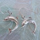 Sterling Silver Dolphin Dangle Earrings Signed Jewelry