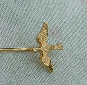 Gold Filled Hat Pin Duck Goose Bird Signed Jewelry