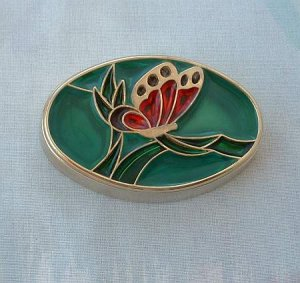 Butterfly Trinket Box Heavy Poured Resin Red Green Plique a Jour Style