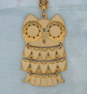 Beige Enamel Large Owl Pendant Necklace Articulated Jointed Jewelry
