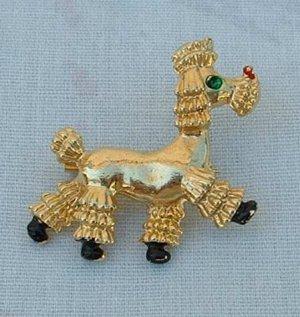 Poodle Dog Pin Goldtone Black Enamel Green Rhinestone Eye Jewelry