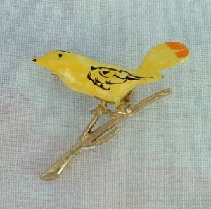 Yellow Bird Orange Tail Enameled Hand Painted Pin Goldtone Jewelry