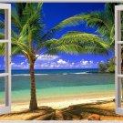 Window Beach Landscape Home Decor Art 32x24 Poster Decor
