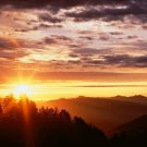 Mountains Sky Sunrise Nature Art 32x24 Poster Decor