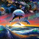 Dolphin Cosmic Planetary Space Wall Print POSTER Decor 32x24