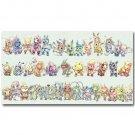 Pokemon Japanese Anime Art Poster Bulbasaur Squirtle Eevee 32x24
