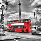 London City Red Bus Art Poster Cityscape Pictures For Wall 32x24