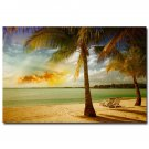 Sunset Tropical Sea Beach Nature Art Poster Palm Tree 32x24
