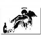 The Fallen Angel Banksy Graffiti Street Art Poster Black White 32x24