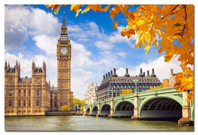 London City Bridge Autumn Art Poster Fallen Leaves 32x24