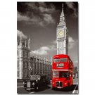 Red London Bus With Big Ben City Landscape Art Poster 32x24