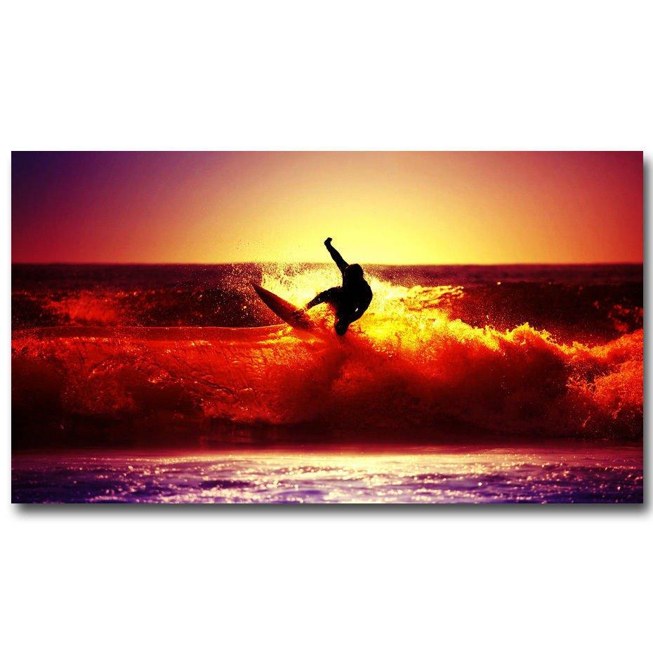 Sunset Surfing Ocean Waves Sports Landscape Art Poster 32x24