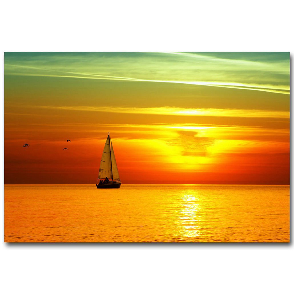 Sailboat Seabeach Sunset Skyline Nature Poster 32x24