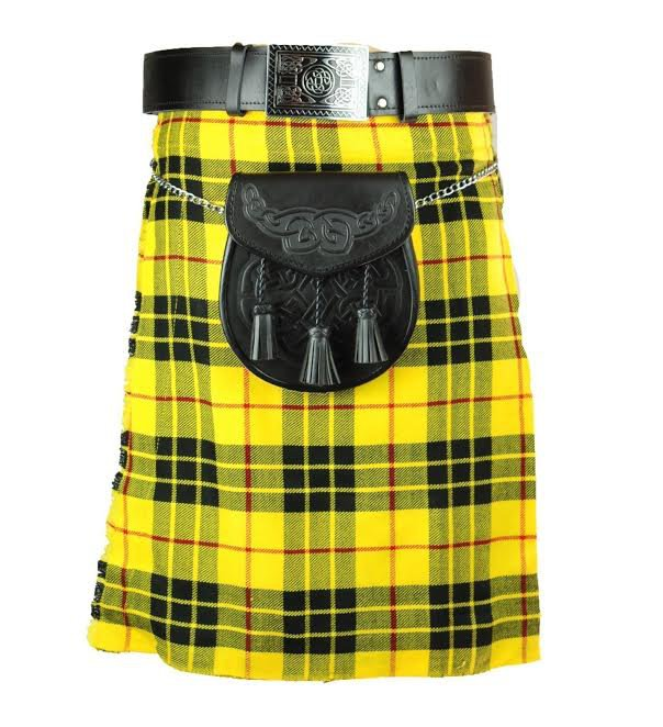 New active Handmade Scottish Highlander kilt for Men in Macleod of Lewis size58 coloure yellow