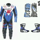 New Suzuki Clarion Motorbike Racing Leather Suit Custom Size free matching Gloves and Shoes