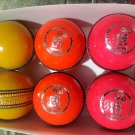 New Pink& Orange Yellow coloure 156 GM Conforming to MCC Regulation leather cricket balls pack of 6